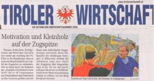 Thomas Schlechter in Tiroler Wirtschaft 06/2010 - Motivation und Kleinholz auf der Zugspitze