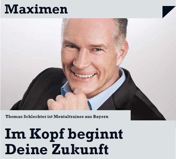 Thomas Schlechter im Wirtschaftsblatt Nr. 03/2012 Im Kopf beginnt deine Zukunft