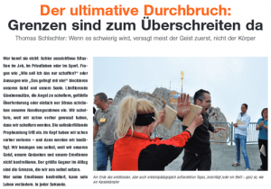 Thomas Schlechter in Wissen und Karriere 04/05/2012 Der ultimative Durchbruch. Grenzen sind zum Überschreiten da.