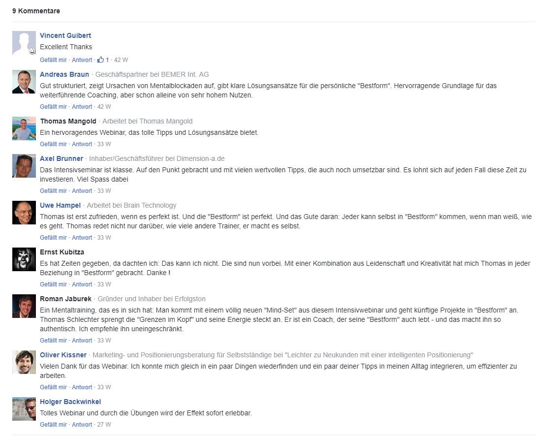 Kommentare der Teilnehmer am Intensiv-Webinar von Thomas Schlechter