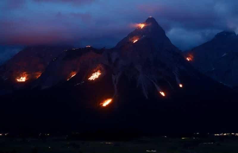 Die Bergfeuer in Ehrwald - Zugspitz-Gipfelmotivation